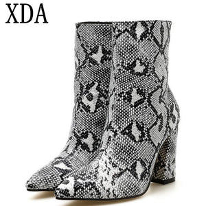XDA Women Zipper Snake Print Ankle Boots high heel Fashion Pointed toe Ladies Sexy martin boots 2019 Chelsea short Boots A179