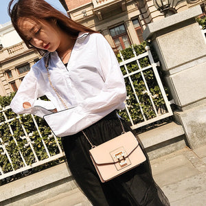 Fashion Women PU Leather Crossbody Bag Flap Over Chain Shoulder Messenger Clutch Bag Handbag