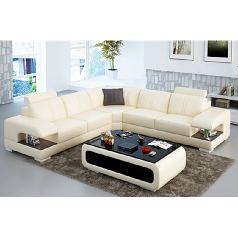 Royal living room 5 seater sofa with Side storage cabinet leather couch