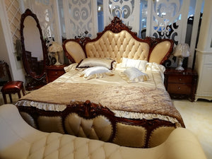 High Quality Modern Luxury Wooden Beds Furniture Sets Design, French Carving Leather Bed King Size bed