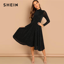 Load image into Gallery viewer, Black Sheer Sleeve Glitter Dress Elegant Plain Stand Collar Long Sleeve Dresses Women Autumn Modern Lady Party Dress