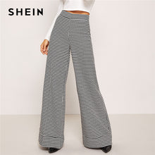 Load image into Gallery viewer, Black And White Zip Up Plaid Houndstooth Wide Leg Flare Leg Low Waist Pants 2018 Autumn Casual Workwear Trousers