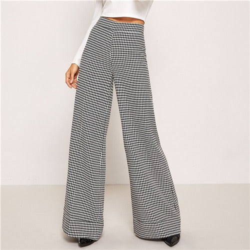 Black And White Zip Up Plaid Houndstooth Wide Leg Flare Leg Low Waist Pants 2018 Autumn Casual Workwear Trousers
