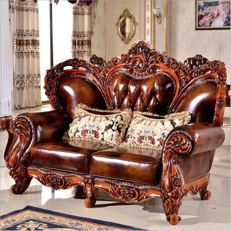 high quality  European  antique living room sofa furniture genuine leather set 1065