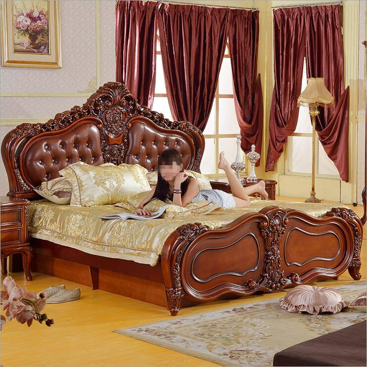 modern American solid wood country style Fashion  bedroom set furniture d1414