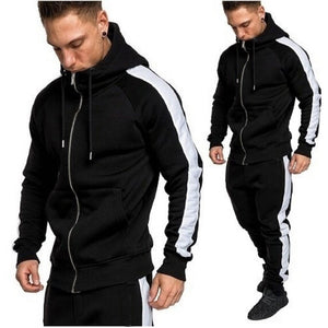 Mens Autumn Winter Zipper Print Sweatshirt Top Pants Sets Sport Suit Tracksuit