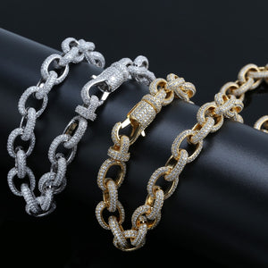 15mm Width Personalized Mens Twisted Link Chain Necklace Iced Out Bling AAA+ CZ Stones Hip Hop Gold Silver Color Chain Jewelry