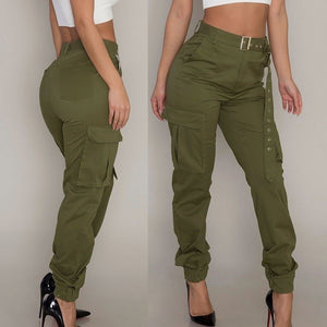 Womens Cargo Trousers Casual Pants Military Army Combat Solid Pants Pocket Pants