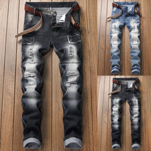 Load image into Gallery viewer, Men's Stretchy Ripped Skinny Biker Jeans Destroyed Taped Slim Fit Denim Pants