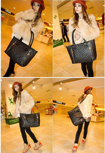 New Women Girl Handbag PU Leather Quilted Check Pattern Twin Zipper Shoulder Bag Tote