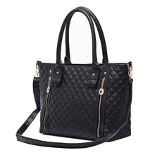 Load image into Gallery viewer, New Women Girl Handbag PU Leather Quilted Check Pattern Twin Zipper Shoulder Bag Tote