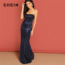 Load image into Gallery viewer, Navy Elegant Sequin Mesh Strapless Bodycon Evening Gown High Waist Zipper Back Solid 2019 Summer Women Party Dresses