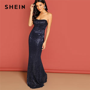 Navy Elegant Sequin Mesh Strapless Bodycon Evening Gown High Waist Zipper Back Solid 2019 Summer Women Party Dresses