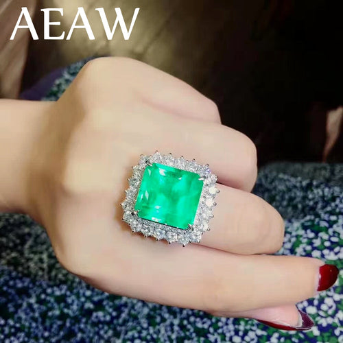 10 Carat Fine Jewelry Real 9K White Gold AAA Colombian Lab Created Emerald with Moissanite Gemstone Wedding Rings for women