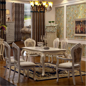 Antique Style Italian Dining Table, 100% Solid Wood Italy Style Luxury Dining Table Set 6 chairs o1105