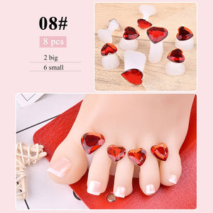 8 pcs/set Nail Art Tools Silicone Toe Separator Foot Pads For Home & Salon Use Pedicure DIY Design Manicure Accessory