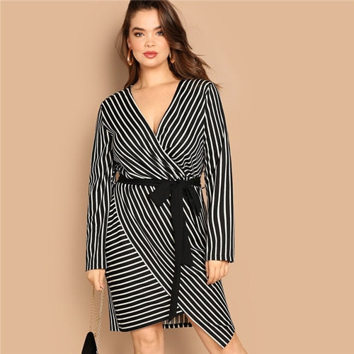 Black and White Plus Size Deep V Neck Striped Dress Asymmetrical Hem Women Workwear Going Out Elegant Dresses