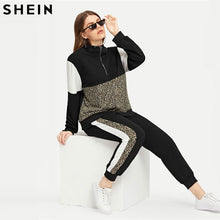 Load image into Gallery viewer, Plus Size Athleisure Leopard Print Tee&Pants Set  Women Half Placket Spring Sporting Casual Two Piece Sets  Matching Set