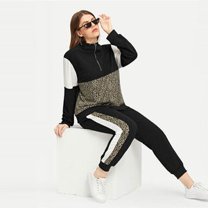Plus Size Athleisure Leopard Print Tee&Pants Set  Women Half Placket Spring Sporting Casual Two Piece Sets  Matching Set