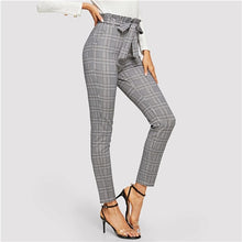 Load image into Gallery viewer, Grey Paperbag Waist Plaid Cigarette Pants Belted High Waist Pencil Pants Women Spring Casual Office Lady Workwear Trousers