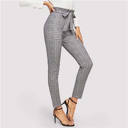 Grey Paperbag Waist Plaid Cigarette Pants Belted High Waist Pencil Pants Women Spring Casual Office Lady Workwear Trousers