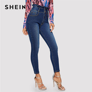 Navy Ruffle High Waist Button Front Skinny Jeans Weekend Casual Solid Pants Summer Women Going Out Trousers