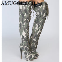 Load image into Gallery viewer, 2019 New Plus Big Size Camouflage Zip Lace Up Sexy Thigh High Heel Platform Over The Knee Autumn Winter Women Boot X1751