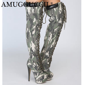 2019 New Plus Big Size Camouflage Zip Lace Up Sexy Thigh High Heel Platform Over The Knee Autumn Winter Women Boot X1751
