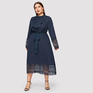 Navy Women Plus Size Elegant Contrast Lace Belted Ruffle Trim Maxi Dress Women Stand Collar Long Sleeve Dresses