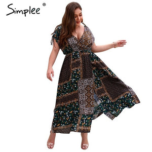 Simplee Sexy boho print women summer long dress plus size V neck robe split maxi dresses Casual beach wear female vestidos 2019