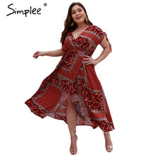 Load image into Gallery viewer, Simplee Sexy boho print women summer long dress plus size V neck robe split maxi dresses Casual beach wear female vestidos 2019