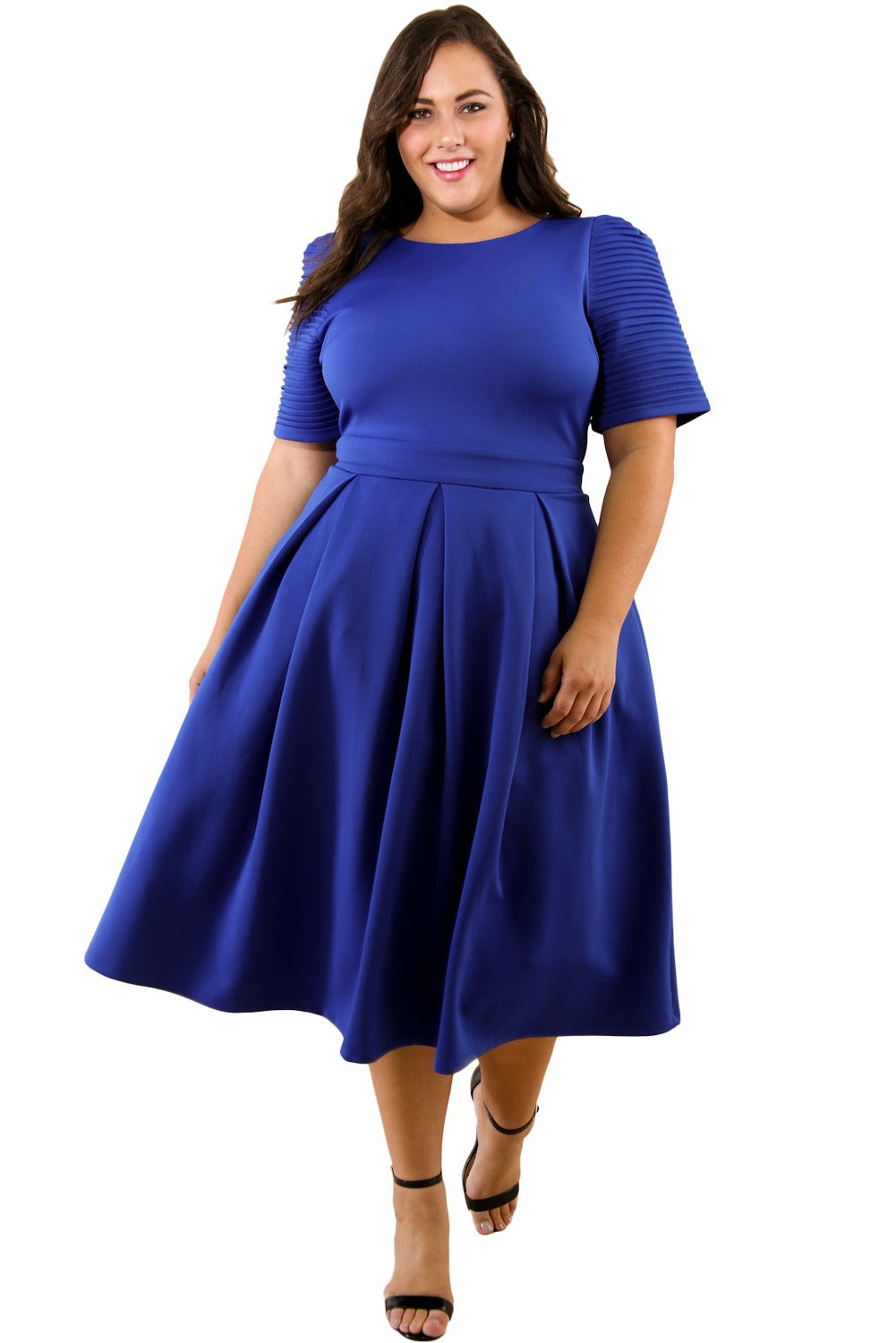 Blue Plus Size Pleat Flare Dress