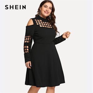 Black Plus Size Cut Out Mock-neck Cold Shoulder Solid Dress Women Spring Autumn Long Sleeve A-Line Party Dresses