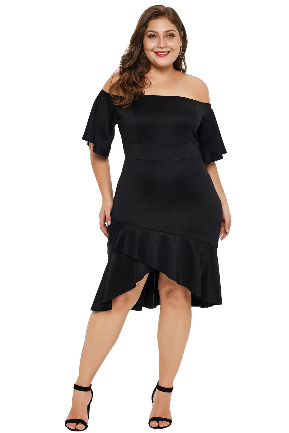 Stylish Off Shoulder Plus Size Dress with Ruffles