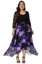Load image into Gallery viewer, Women Plus Size Floral Dress With Lace Overlay
