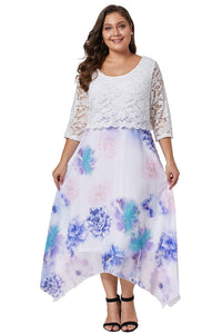 Women Plus Size Floral Dress With Lace Overlay