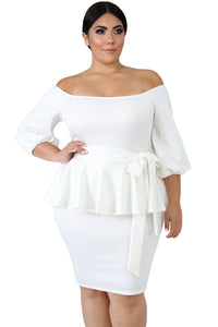 Women's Plus Size Off Shoulder Peplum Dress Bodycon Party Dress