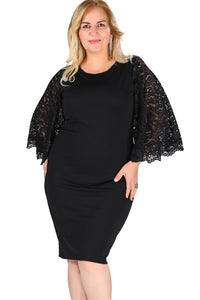 Women Lace Flutter Sleeve Plus Size Bodycon Dress