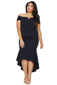 Women Plus Size Dip Hem Fishtail Midi Dress