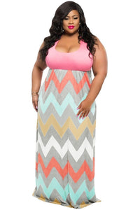 Women Summer Plus Size Multicolor Zigzag Maxi Dress