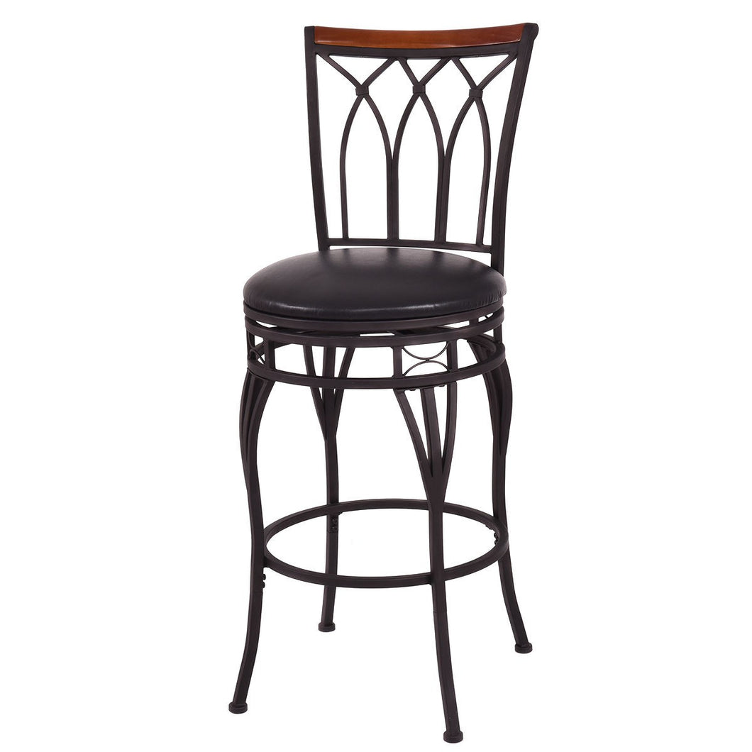 Costway Vintage Swivel Bar Stool 24'' 28'' Height Adjustable Padded Seat Bistro Pub Chair