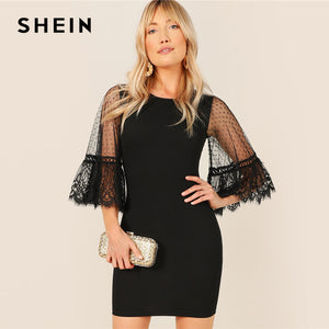 Lace Trim Dot Mesh Flounce Sleeve Bodycon Dress Elegant 2019 Women Summer Round Neck 3/4 Sleeve Wrap Slim Short Dresses