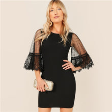 Load image into Gallery viewer, Lace Trim Dot Mesh Flounce Sleeve Bodycon Dress Elegant 2019 Women Summer Round Neck 3/4 Sleeve Wrap Slim Short Dresses