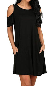 Women's t Shirt Dress Cold Shoulder Tunic Top Swing T-Shirt Loose Dress with Pockets