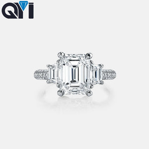 QYI 4 Ct Emerald Cut Simulated Diamond Engagement Rings 925 Sterling Silver Ring For Women Wedding Promise Ring Bridal Jewelry