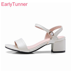 Brand New Summer Elegant White Beige Women Office Sandals Sexy Chunky Heels Lady Dress Shoes EG51