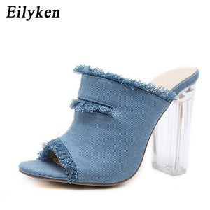 Eilyken 2019 New Summer Blue Denim Transparent heel Slippers Shoes Sandals slippers For Women size 34-40