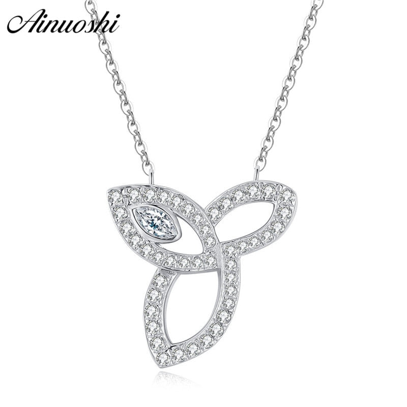 AINUOSHI Luxury 925 Sterling Silver Pendant Necklace for Women Leaves Long Chain Necklace Wedding Silver Jewelry collar de plata