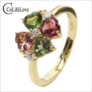 CoLife Jewelry 925 Silver Tourmaline Ring for Party 4pcs Natural Tourmaline Silver Ring Yellow Gold Color Silver Ring