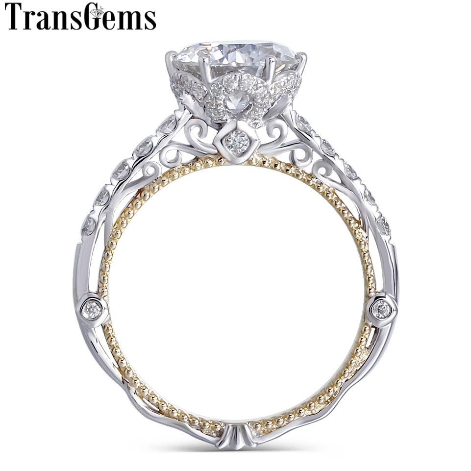 Transgems 14K White and Yellow Gold Center F Color Moissanite Diamond Vintage Engagement Ring for Women Bridal Wedding